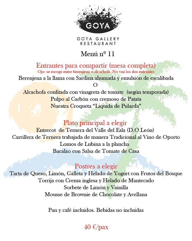 Menus de grupo para navidad del Restaurante Goya, Valencia